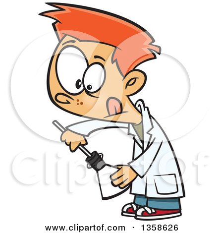 Clipart of a Cartoon Red Haired White School Boy Inserting Something into a Science Laboratory Flask - Royalty Free Vector Illustration by toonaday