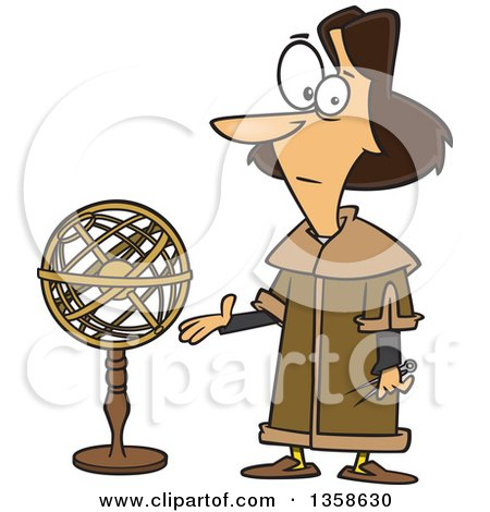 Clipart of a Cartoon Astronomer, Nicolaus Copernicus, Presenting a Model of the Universe - Royalty Free Vector Illustration by Ron Leishman
