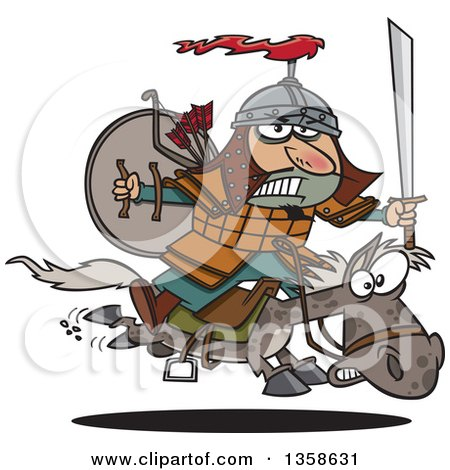 Clipart of a Cartoon Man, Genghis Khan, Riding into Battle on Horseback - Royalty Free Vector Illustration by toonaday