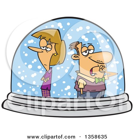 Clipart of a Cartoon Unhappy White Couple Isolated in a Snow Globe - Royalty Free Vector Illustration by toonaday