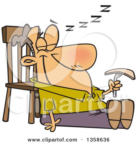 Clipart of a Cartoon Happy White Man Sleeping in a Turkey Coma After Thanksgiving Feast - Royalty Free Vector Illustration by toonaday