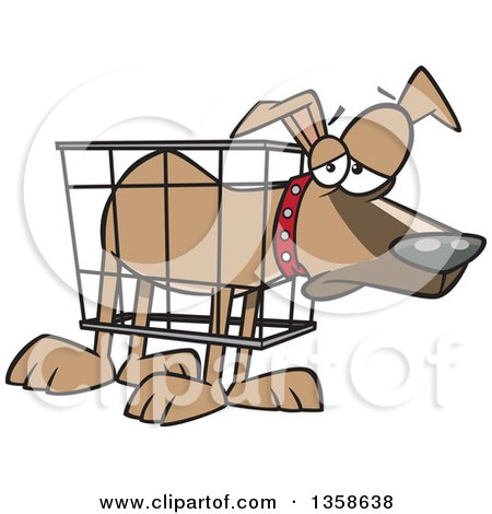 Clipart of a Cartoon Unhappy Dog in a Cramped Crate - Royalty Free Vector Illustration by toonaday