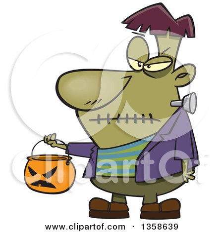 Clipart Of A Cartoon Halloween Frankenstein Trick Or Treating With A Pumpkin Basket Royalty Free Vector Illustration