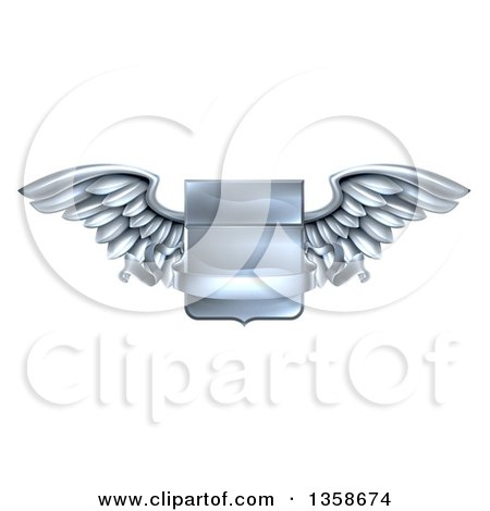 Clipart of a 3d Steel Metal Heraldic Winged Shield with a Blank Banner Ribbon - Royalty Free Vector Illustration by AtStockIllustration