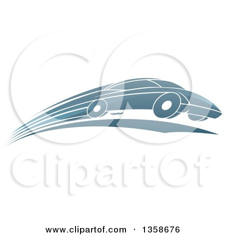 Clipart of a Shiny Blue Sports Car Zooming by - Royalty Free Vector Illustration by AtStockIllustration