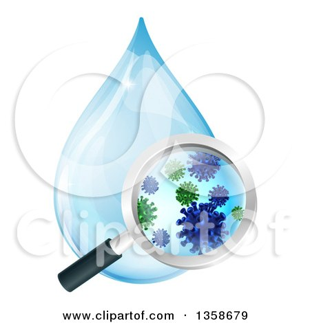 Clipart of a Magnifying Glass Discovering Microscopic Bacteria in a Water Drop - Royalty Free Vector Illustration by AtStockIllustration