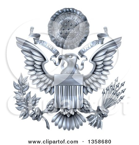 Clipart of a 3d Silver Great Seal of the United States with a Bald Eagle Holding an Olive Branch and Arrows, an American Flag Body and E Pluribus Unum Scroll and Stars over His Head - Royalty Free Vector Illustration by AtStockIllustration