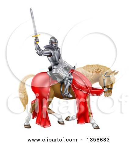 Clipart of a 3d Full Armored Medieval Knight on a Brown Horse, Holding up a Sword - Royalty Free Vector Illustration by AtStockIllustration