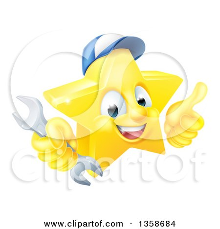 Clipart of a 3d Happy Golden Mechanic Star Emoji Emoticon Character Wearing a Hat, Giving a Thumb up and Holding a Wrench - Royalty Free Vector Illustration by AtStockIllustration