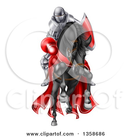 Clipart of a 3d Fully Armored Jousting Knight Charging Forward with a Lance on a Black Horse - Royalty Free Vector Illustration by AtStockIllustration