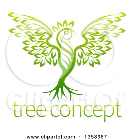 Clipart of a Gradient Green Tree in the Shape of a Phoenix Bird over Sample Text - Royalty Free Vector Illustration by AtStockIllustration