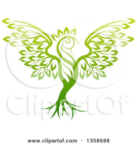 Clipart of a Gradient Green Tree in the Shape of a Phoenix Bird - Royalty Free Vector Illustration by AtStockIllustration