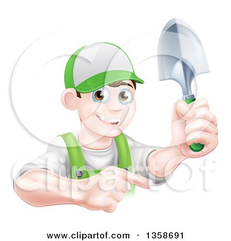 Clipart of a Happy Young Brunette White Male Gardener in Green, Pointing and Holding a Shovel - Royalty Free Vector Illustration by AtStockIllustration