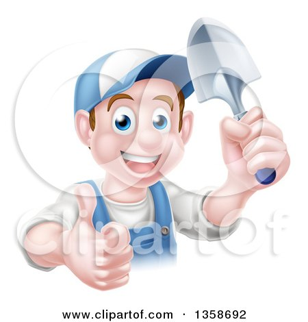 Clipart of a Happy Young Brunette White Male Gardener in Blue, Giving a Thumb up and Holding a Shovel - Royalty Free Vector Illustration by AtStockIllustration