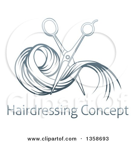 Clipart of Gradient Blue Scissors Cutting Hair over Sample Text - Royalty Free Vector Illustration by AtStockIllustration