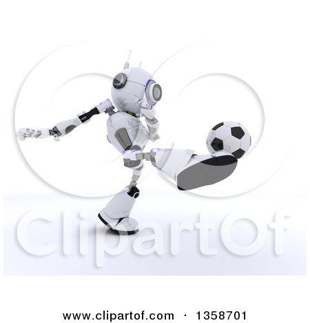 Clipart of a 3d Futuristic Robot Kicking a Soccer Ball, on a Shaded White Background - Royalty Free Illustration by KJ Pargeter