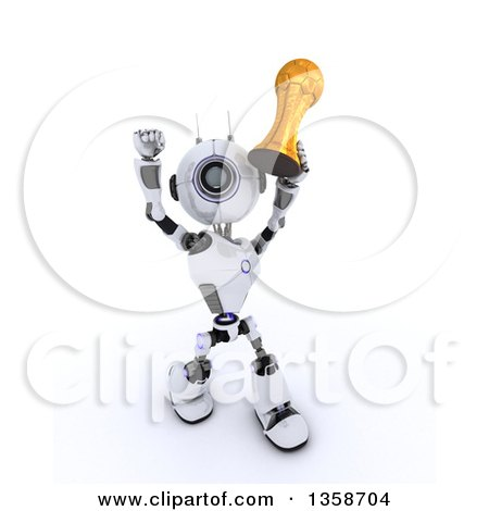 Clipart of a 3d Futuristic Robot Soccer Player Holding up a Gold Trophy, on a Shaded White Background - Royalty Free Illustration by KJ Pargeter