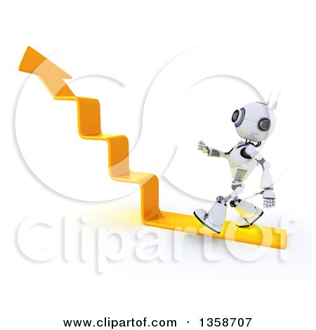 Clipart of a 3d Futuristic Robot Walking on an Upward Arrow Staircase, on a Shaded White Background - Royalty Free Illustration by KJ Pargeter