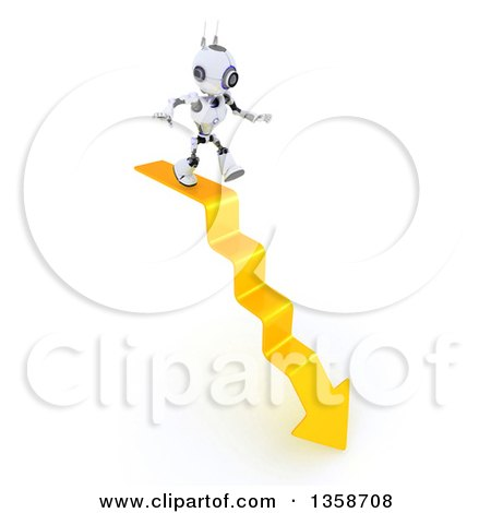 Clipart of a 3d Futuristic Robot Walking on a Downward Arrow Staircase, on a Shaded White Background - Royalty Free Illustration by KJ Pargeter