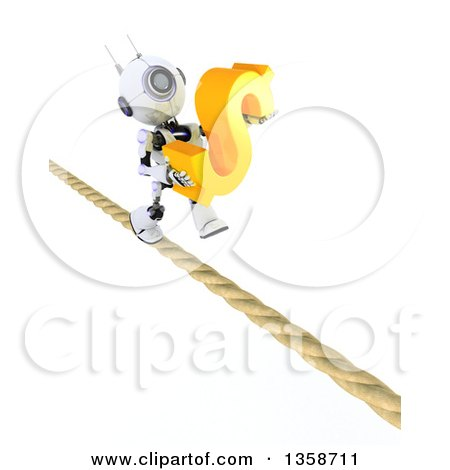 Clipart of a 3d Futuristic Robot Carrying a Dollar Currency Symbol and Walking a Tight Rope, on a Shaded White Background - Royalty Free Illustration by KJ Pargeter