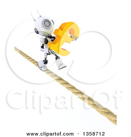Clipart of a 3d Futuristic Robot Carrying a Lira Currency Symbol and Walking a Tight Rope, on a Shaded White Background - Royalty Free Illustration by KJ Pargeter