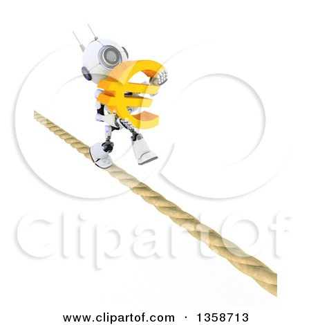 Clipart of a 3d Futuristic Robot Carrying a Euro Currency Symbol and Walking a Tight Rope, on a Shaded White Background - Royalty Free Illustration by KJ Pargeter