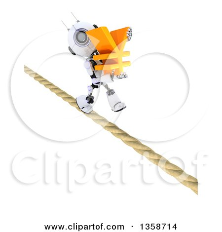 Clipart of a 3d Futuristic Robot Carrying a Yen Currency Symbol and Walking a Tight Rope, on a Shaded White Background - Royalty Free Illustration by KJ Pargeter