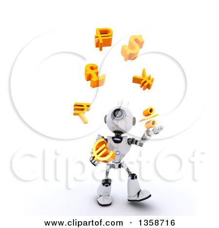 Clipart of a 3d Futuristic Robot Juggling Currency Symbols, on a Shaded White Background - Royalty Free Illustration by KJ Pargeter