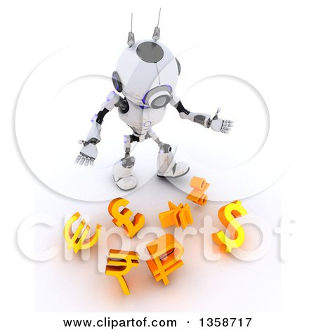 Clipart of a 3d Futuristic Robot Juggler Dropping Currency Symbols, on a Shaded White Background - Royalty Free Illustration by KJ Pargeter