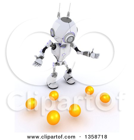 Clipart of a 3d Futuristic Robot Juggler Dropping Balls, on a Shaded White Background - Royalty Free Illustration by KJ Pargeter