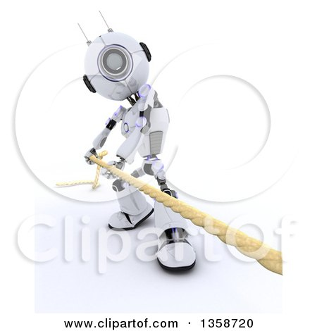 Clipart of a 3d Futuristic Robot Pulling a Rope in a Game of Tug of War, on a Shaded White Background - Royalty Free Illustration by KJ Pargeter