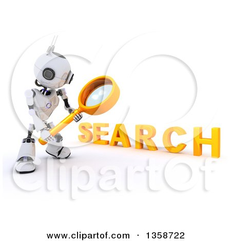 Clipart of a 3d Futuristic Robot Using a Magnifying Glass to Search, on a Shaded White Background - Royalty Free Illustration by KJ Pargeter