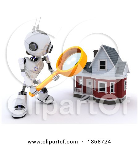 Clipart of a 3d Futuristic Robot Using a Magnifying Glass to Search for a House, on a Shaded White Background - Royalty Free Illustration by KJ Pargeter