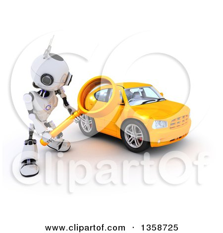 Clipart of a 3d Futuristic Robot Using a Magnifying Glass to Search for a Car, on a Shaded White Background - Royalty Free Illustration by KJ Pargeter