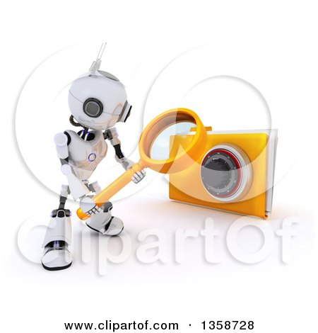 Clipart of a 3d Futuristic Robot Using a Magnifying Glass to Search in a Locked File Folder, on a Shaded White Background - Royalty Free Illustration by KJ Pargeter