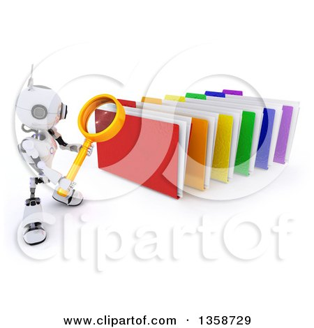 Clipart of a 3d Futuristic Robot Using a Magnifying Glass to Search Colorful File Folders, on a Shaded White Background - Royalty Free Illustration by KJ Pargeter