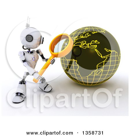 Clipart of a 3d Futuristic Robot Using a Magnifying Glass to Search a Globe, on a Shaded White Background - Royalty Free Illustration by KJ Pargeter