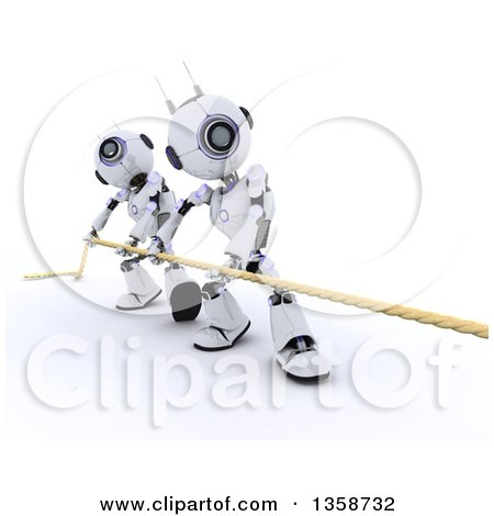 Clipart of 3d Futuristic Robots Working Together During a Tug of War Competition, on a Shaded White Background - Royalty Free Illustration by KJ Pargeter
