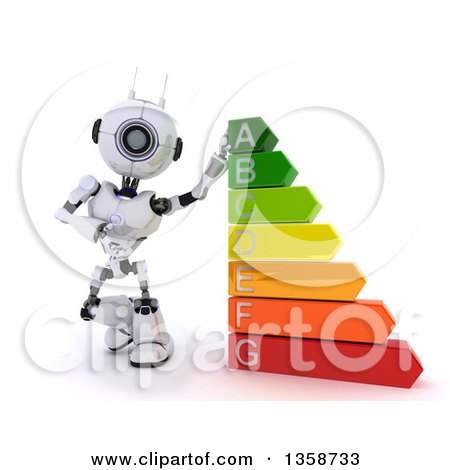 Clipart of a 3d Futuristic Robot Leaning on and Presenting an Energy Rating Chart, on a Shaded White Background - Royalty Free Illustration by KJ Pargeter