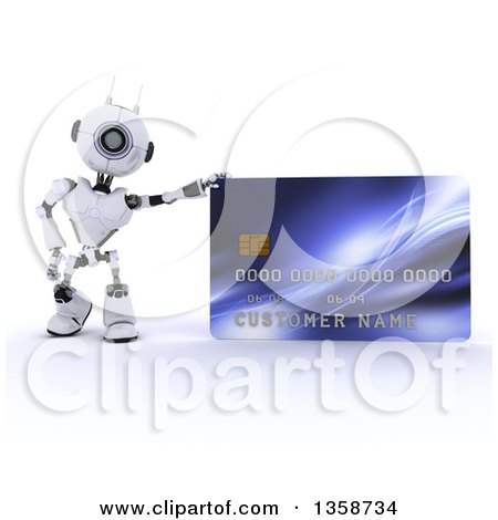 Clipart of a 3d Futuristic Robot Leaning on a Giant Credit Card, on a Shaded White Background - Royalty Free Illustration by KJ Pargeter