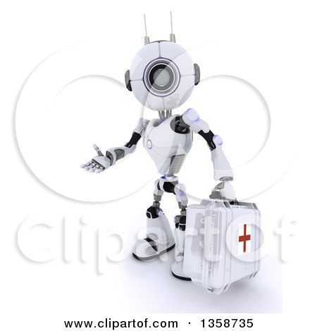 Clipart of a 3d Futuristic Robot First Responder Paramedic Presenting and Holding a First Aid Kit, on a Shaded White Background - Royalty Free Illustration by KJ Pargeter