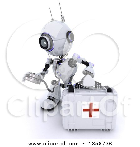 Clipart of a 3d Futuristic Robot First Responder Paramedic Using a Stethoscope by a First Aid Kit, on a Shaded White Background - Royalty Free Illustration by KJ Pargeter