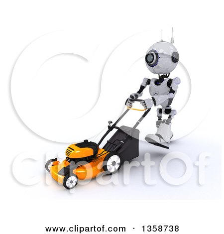 Clipart of a 3d Futuristic Robot Pushing a Lawn Mower, on a Shaded White Background - Royalty Free Illustration by KJ Pargeter