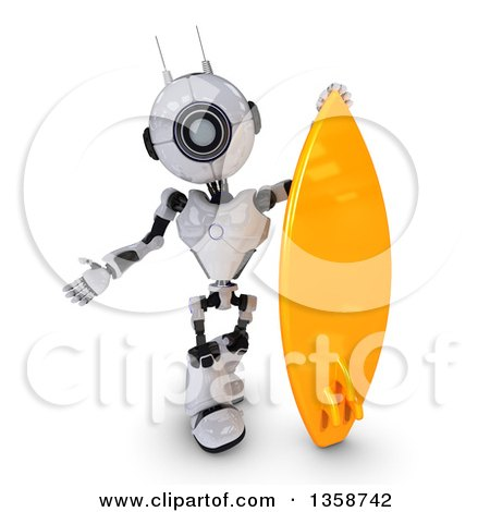 Clipart of a 3d Futuristic Robot Presenting by a Surf Board, on a Shaded White Background - Royalty Free Illustration by KJ Pargeter