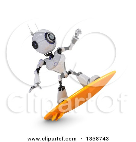 Clipart of a 3d Futuristic Robot Surfing, on a Shaded White Background - Royalty Free Illustration by KJ Pargeter