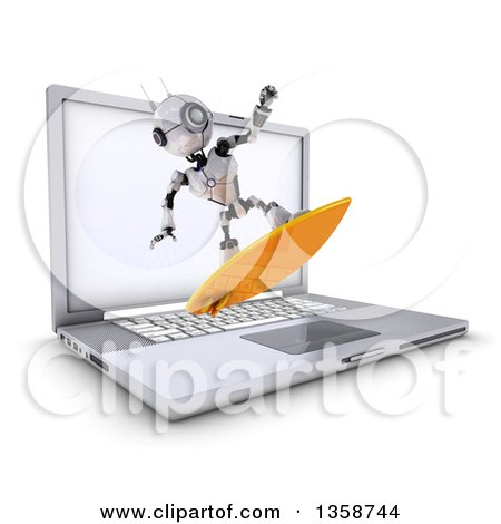 Clipart of a 3d Futuristic Robot Surfing and Emerging from a Laptop Computer Screen, on a Shaded White Background - Royalty Free Illustration by KJ Pargeter