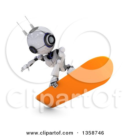 Clipart of a 3d Futuristic Robot Snowboarding, on a Shaded White Background - Royalty Free Illustration by KJ Pargeter