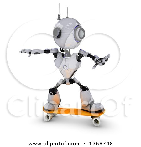 Clipart of a 3d Futuristic Robot Skateboarding, on a Shaded White Background - Royalty Free Illustration by KJ Pargeter