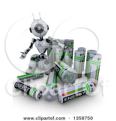 Clipart of a 3d Futuristic Robot with Giant Batteries, on a Shaded White Background - Royalty Free Illustration by KJ Pargeter