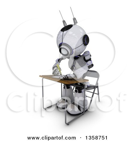 Clipart of a 3d Futuristic Robot Student Writing at a Desk, on a Shaded White Background - Royalty Free Illustration by KJ Pargeter